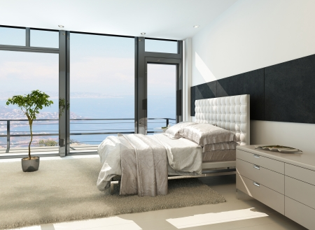 Contemporary modern sunny bedroom interior with huge windows Reklamní fotografie