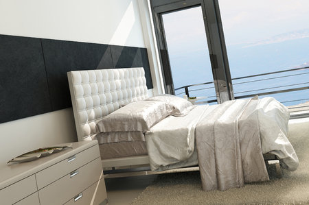 Contemporary modern sunny bedroom interior with huge windows Stock Photo - 23064349