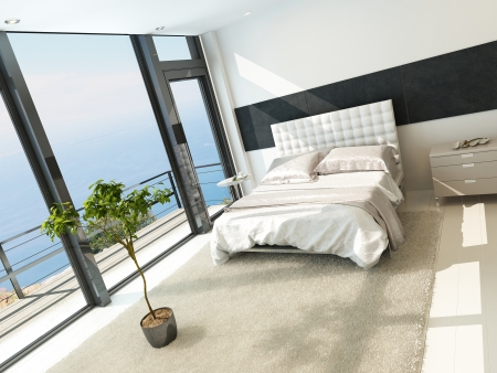 Contemporary modern sunny bedroom interior with huge windows Stock Photo - 23064373