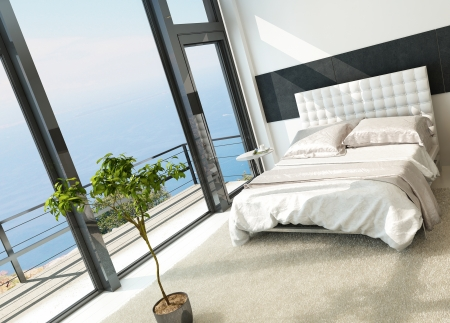 view of a comfortable bedroom: Contemporary modern sunny bedroom interior with huge windows Stock Photo