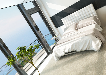 Contemporary modern sunny bedroom inter with huge windows Stock Photo - 23064385