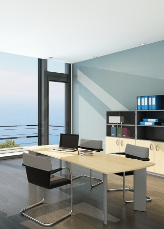 home office desk: Modern office interior with spledid seascape view