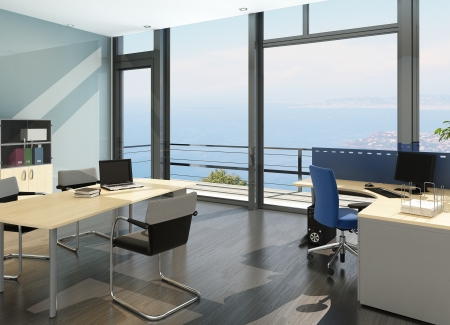 office interior design: Modern office interior with spledid seascape view