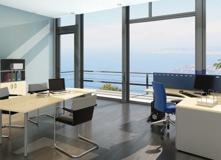 Moderne B�ro-Interieur mit spledid Meerblickansicht Lizenzfreie Bilder