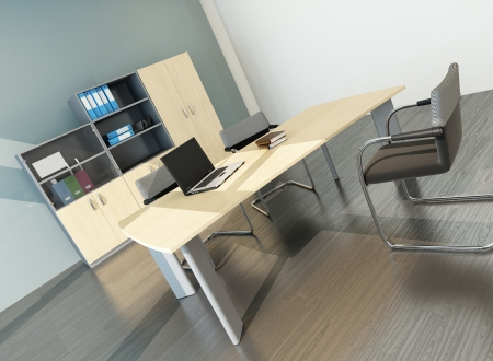Modern office inter with desk Stock Photo - 23064502