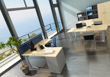 new office space: Modern office interior with spledid seascape view