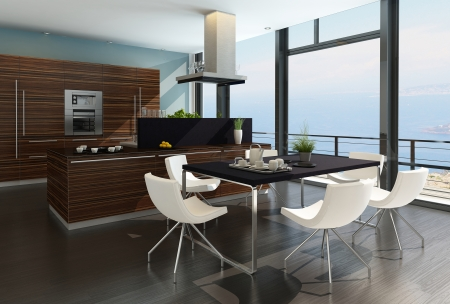 Stylish kitchen interior with cooking island and seascape view Stock Photo - 23064534