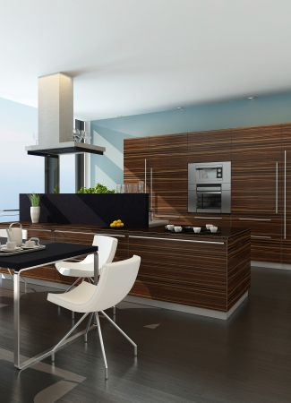 Stylish kitchen interior with cooking island and seascape view photo