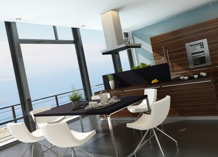 Stylish kitchen inter with cooking island and seascape view Stock Photo - 23064599