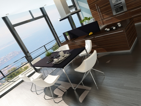 Stylish kitchen interior with cooking island and seascape view Stock Photo - 23064604