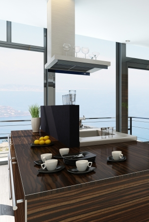 Stylish kitchen interior with cooking island and seascape view Stock Photo - 23064620