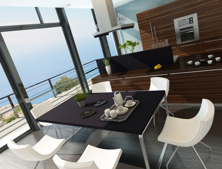 Stylish kitchen inter with cooking island and seascape view Stock Photo - 23064573