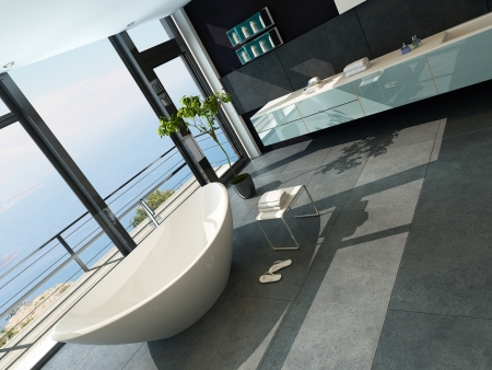 Ultramodern contemporary design bathroom interior with sea view Stock Photo - 23064632