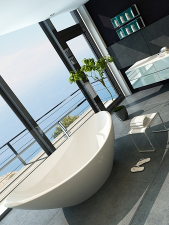 Ultramodern contemporary design bathroom interior with sea view Stock Photo - 23064571