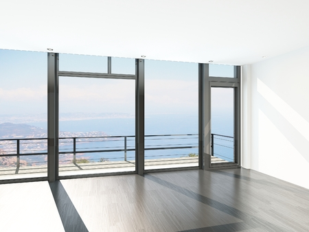 balcony design: Empty room interior with floor to ceiling windows and scenic view
