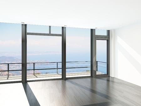 Leerer Raum Interieur mit raumhohen Fenstern und malerischen Blick Lizenzfreie Bilder