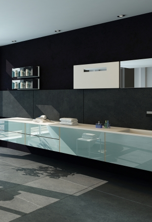 baÑo: Cuarto de baño interior moderno con muro negro