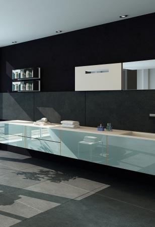 int�rieur de maison: Int�rieur salle de bains contemporaine avec le mur noir Banque d'images
