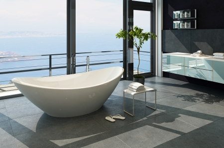 Ultramodern contemporary design bathroom inter with sea view Stock Photo - 23064684