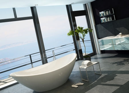 Ultramodern contemporary design bathroom interior with sea view photo