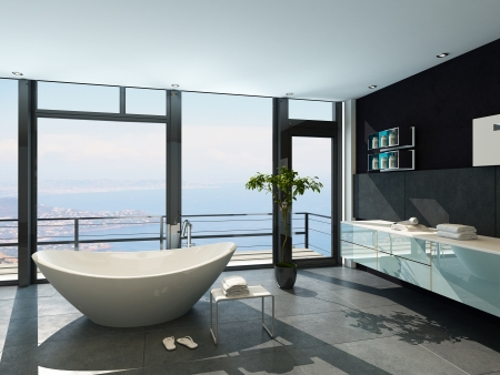 bathtub: Ultramodern contemporary design bathroom interior with sea view Stock Photo