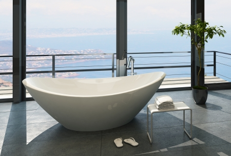 penthouse: Expensive luxury bathtub against panoramic window with seascape view Stock Photo