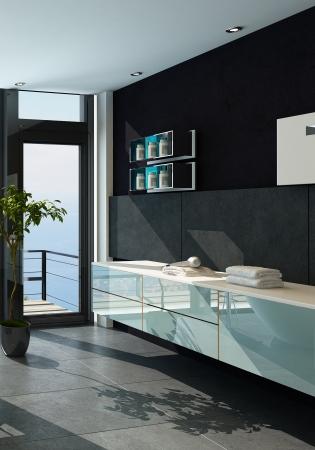 prospect: Contemporary design bathroom interior in black color Stock Photo