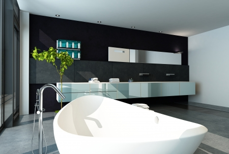 bathroom mirror: Contemporary bathroom interior with black wall Stock Photo