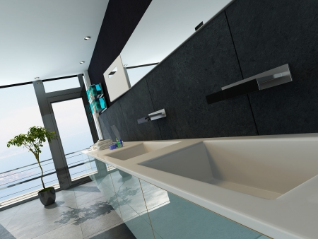 Contemporary design bathroom interior in black color photo