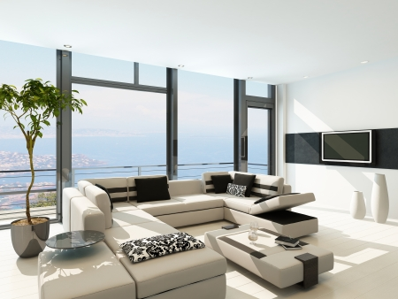 beach summer: Modern white living room interior with splendid seascape view