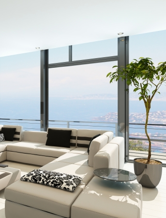 Modern white living room interior with splendid seascape view Stock Photo - 23064786