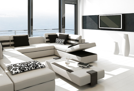 splendide: Blanc moderne salon int�rieur avec vue splendide paysage marin