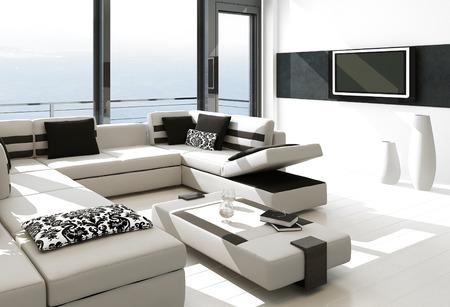 rendering: Modern white living room interior with splendid seascape view