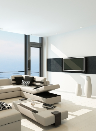 living room furniture: Modern white living room interior with splendid seascape view