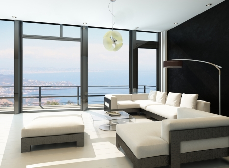 balcony design: Modern living room with huge windows and black stone wall