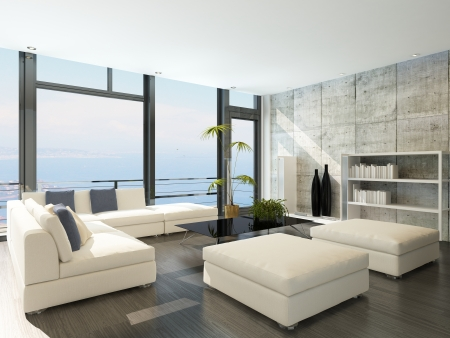 balcony window: Modern living room with huge windows and concrete stone wall