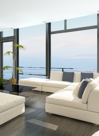 Modern white living room with huge windows and seascape view Stock Photo - 23129034