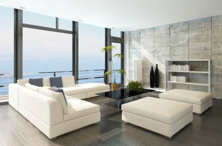 paysage marin: Moderne salle de s�jour avec de grandes fen�tres et des murs en b�ton