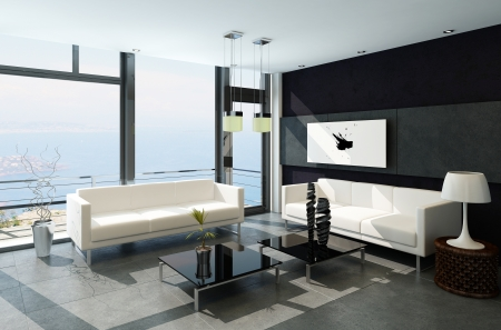 balcony window: Modern living room with huge windows and black stone wall