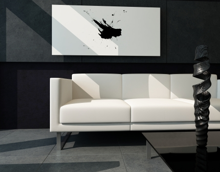 sofa furniture: Modern living room with black stone wall and abstract painting Stock Photo