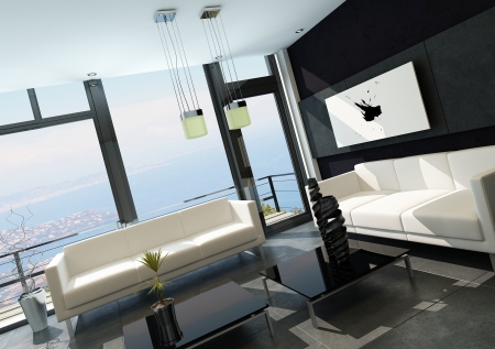Modern living room with huge windows and black stone wall Stock Photo - 23129048