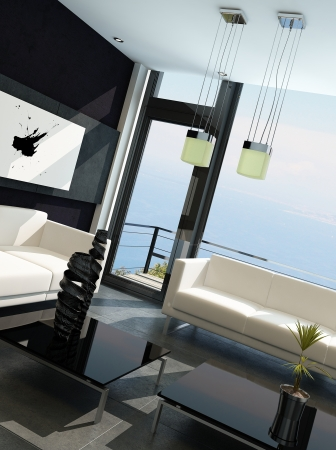 Modern living room with huge windows and black stone wall Stock Photo - 23129049