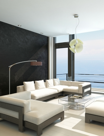room: Modern living room with huge windows and black stone wall