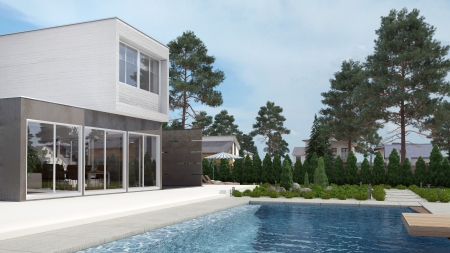 Modern House Exterior with Swiming Pool