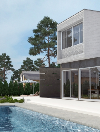 lifestyle home: Modern House Exterior with Swiming Pool