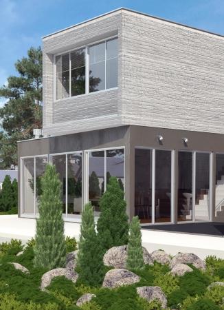 modern house exterior: Modern house exterior with garden