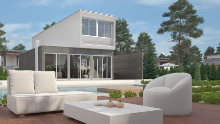 Modern house exterior with garden photo