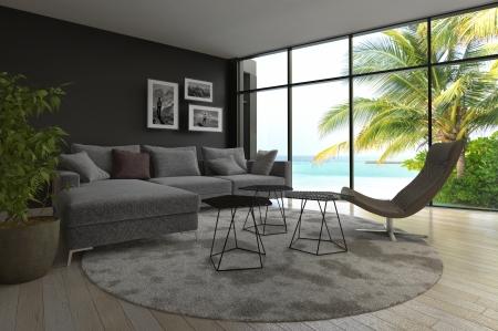int�rieur de maison: Int�rieur moderne de salle de s�jour avec vue sur la marine et palmier