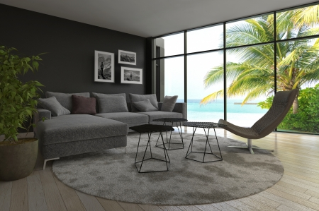 interior design living room: Modern living room interior with seascape view and palm tree