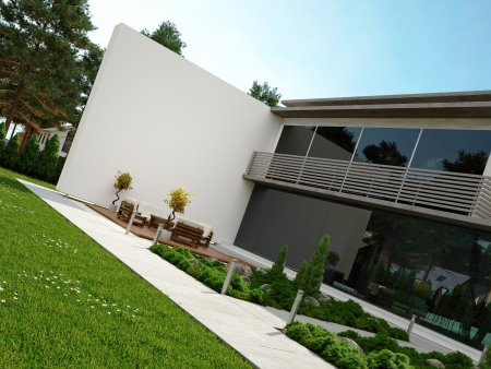 summer house: Modern house exterior with patio and garden Stock Photo